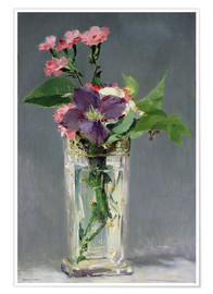 Póster Pinks and Clematis in a Crystal Vase