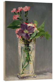Cuadro de madera  Pinks and Clematis in a Crystal Vase - Edouard Manet