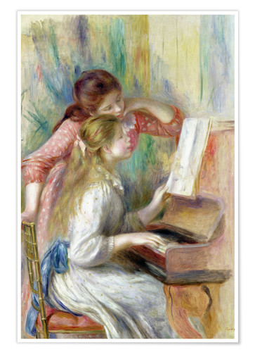 Póster Young Girls at the Piano