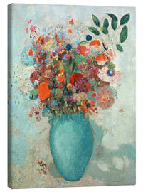 Lienzo  Flowers in a Turquoise Vase - Odilon Redon
