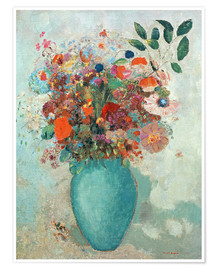 Póster Flowers in a Turquoise Vase