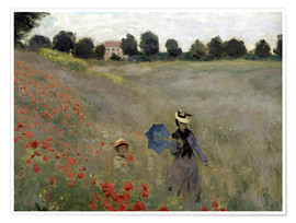 Póster Poppy field at Argenteuil, detail