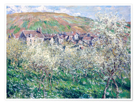 Póster  Plum Trees in Blossom at Vetheuil - Claude Monet
