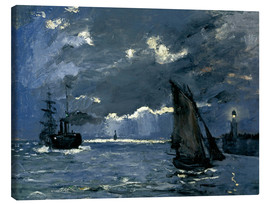 Lienzo  Ships in Moonshine - Claude Monet