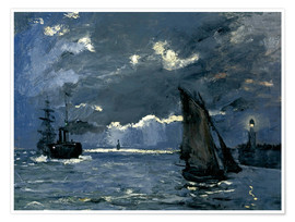 Póster  Ships in Moonshine - Claude Monet