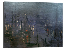 Cuadro de aluminio  Harbour of Le Havre at night - Claude Monet