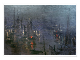 Póster  Harbour of Le Havre at night - Claude Monet