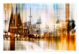 Póster  Germany Collonge Köln skyline - Städtecollagen