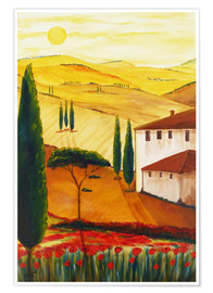 Póster  Tuscan idyll 3 (brighter) - Christine Huwer