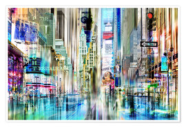 Póster  Collage de Nueva York, Times Square - Städtecollagen