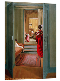 Cuadro de PVC  Interior with woman in red - Felix Edouard Vallotton