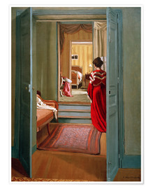 Póster Interior with woman in red