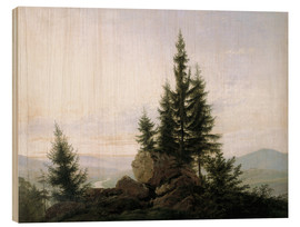 Cuadro de madera  View into the Elbe valley - Caspar David Friedrich