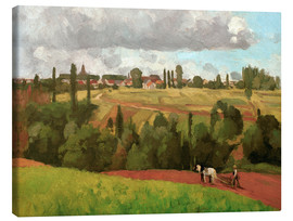 Lienzo  Landscape with Peasant Ploughing - Camille Pissarro