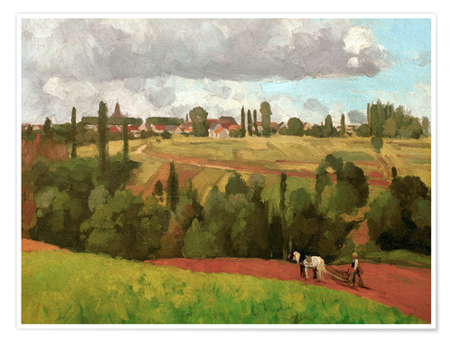 Póster Landscape with Peasant Ploughing