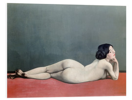 Cuadro de PVC  Reclining Nude on red carpet - Felix Edouard Vallotton
