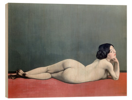 Cuadro de madera  Reclining Nude on red carpet - Felix Edouard Vallotton