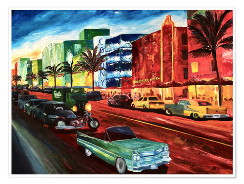Póster Miami Ocean Drive with mint Cadillac