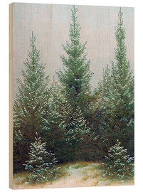 Cuadro de madera  Fir Trees in Snow - Caspar David Friedrich