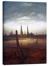 Lienzo  City at Moonrise - Caspar David Friedrich