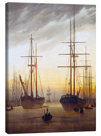 Lienzo  View of a harbor - Caspar David Friedrich