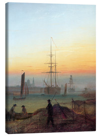 Lienzo  Harbour of Greifswald - Caspar David Friedrich