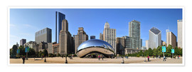 Póster Panorama Millenium Park en Chicago con Cloud Gate