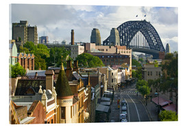 Cuadro de metacrilato  View of the Sydney Harbour Bridge overlooking buildings - Walter Bibikow