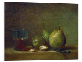 Cuadro de PVC  Pears, nuts, and a cup of wine - Jean Simeon Chardin