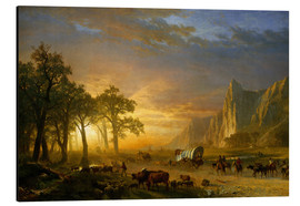 Cuadro de aluminio  Wagon Train on the Prairie - Albert Bierstadt