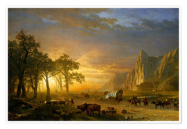 Póster  Wagon Train on the Prairie - Albert Bierstadt