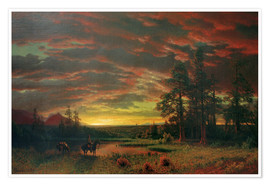 Póster  Evening on the Prairie - Albert Bierstadt