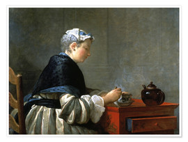 Póster Woman drinking tea
