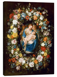 Lienzo  Flowers wreath with virgin, child and two angels - Jan Brueghel d.Ä.