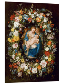 Cuadro de PVC  Flowers wreath with virgin, child and two angels - Jan Brueghel d.Ä.