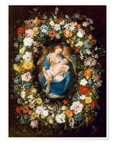 Póster Flowers wreath with virgin, child and two angels
