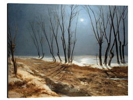 Cuadro de aluminio  Landscape in Winter at Moonlight - Carl Blechen