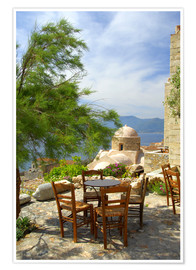 Cindy Miller Hopkins - Tables and chairs on a terrace by the sea