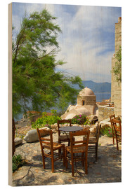 Madera  Tables and chairs on a terrace by the sea - Cindy Miller Hopkins