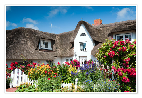 Póster Amrum - thatched house with flower garden