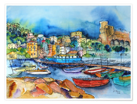 Póster  Lerici Liguria At the harbor - Hartmut Buse