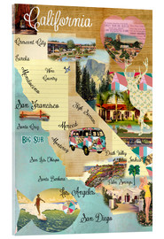 Cuadro de metacrilato  Vintage California Map Collage Poster on wooden background - GreenNest