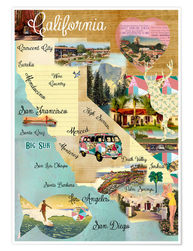 Póster Vintage California Map Collage Poster on wooden background