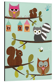 Cuadro de aluminio  Happy Tree with cute animals - owls, squirrel, racoon - GreenNest