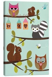 Lienzo  Happy Tree with cute animals - owls, squirrel, racoon - GreenNest