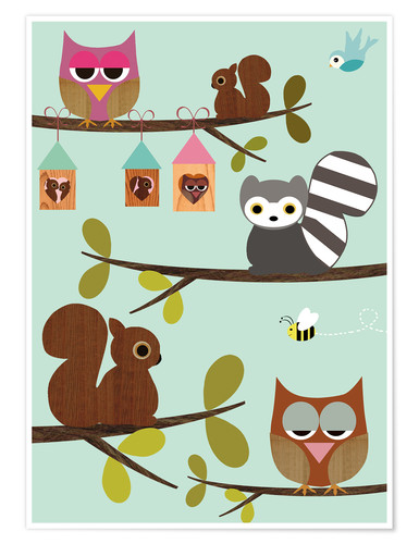 Póster Happy Tree with cute animals - owls, squirrel, racoon