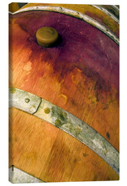 Lienzo  Closeup of an oak barrel with cork and red wine - Janis Miglavs