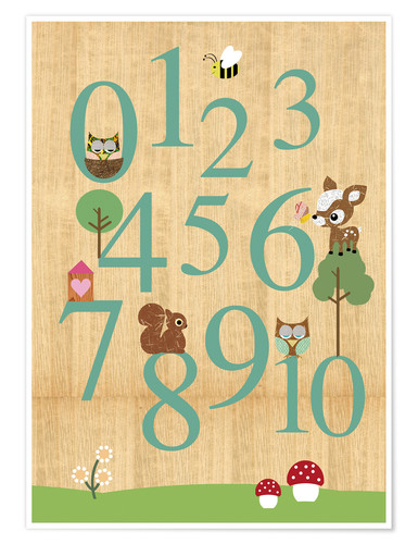 Póster Educational Numbers - learn to count