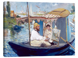 Lienzo  Monet painting on his studio boat - Edouard Manet