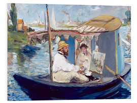 Cuadro de PVC  Monet painting on his studio boat - Edouard Manet